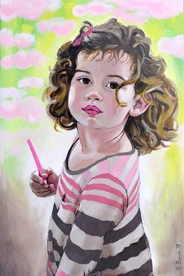 Brikena Berdo; Amber, 2018, Original Painting Oil, 40 x 60 cm. Artwork description: 241 Portrait in oil of my 3 years old niece, Amber. ...