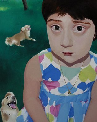Brikena Berdo; I Killed My Dog, 2007, Original Painting Oil, 95 x 120 cm. Artwork description: 241  Shame and pleasure of doing something bad. These are the first feelings I want to convey through the perplexed- angelic face of a kid. An disturbing feeling of having done something wrong and don' t know what to feel about it ...