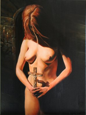 Brett Roeller; Repentance, 2009, Original Painting Oil, 18 x 20 inches. Artwork description: 241 Oil on Canvas, 18- 22  Damar Varnished...