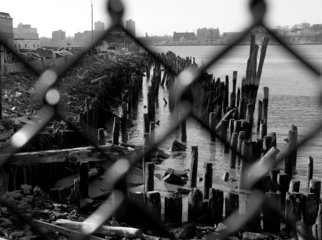 Bruce Panock; West Side Piers 2, 2008, Original Photography Black and White, 16 x 21 inches. Artwork description: 241  A view of a former Hudson River pier ...