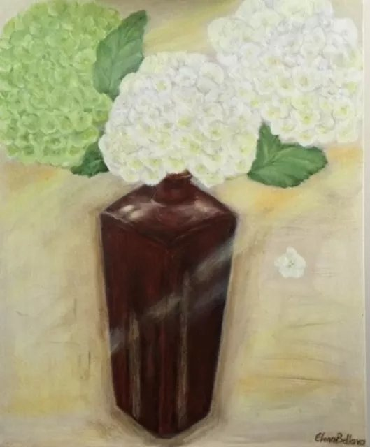 Elena Belkova; Hydrangea In Vase, 2016, Original Painting Oil, 16 x 20 inches. Artwork description: 241 This still life was made in Alla Prima techniqueand shows the praise of Hydrangea flowers. ...