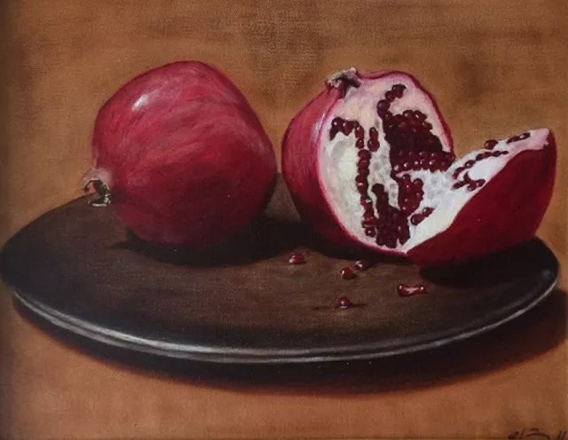 Elena Belkova; Pomegranates, 2005, Original Painting Oil, 11 x 14 inches. Artwork description: 241 The study of Flemish technique. Oil on canvas. The painting can include the frame for the extra cost. ...