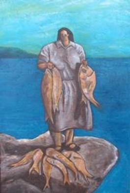 Bryce Brown; The Fisherwoman, 2005, Original Painting Acrylic, 51 x 76 cm. Artwork description: 241 A strong, statuesque maori woman presents her fish to the viewer. ...
