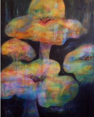 Lynne Sonenberg, 'Beautiful Magic', 2008, original Painting Acrylic, 60 x 48  x 2 inches. Artwork description: 2307   Treasures nestled in pillows? Clouds?  Flowers?  Let your imagination take you hither and thither.  Something new to discover each time you see this dramatic piece of art.  Large, with deep background of blues, it is easy and restful to contemplate.  ...