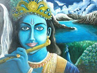 Kiran Kumar; Krishna, 2018, Original Painting Oil, 60 x 45 cm. Artwork description: 241 Lord Krishna s Beautiful World...