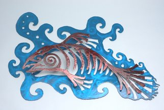 Zophia Kneiss; Free Swim, 2007, Original Sculpture Steel, 42 x 24 inches. Artwork description: 241  HEavy gage 3d abstract salmon sculpture.Textured finish, one of a kind ...