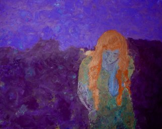 Bridget Busutil; Mermaid2, 2006, Original Painting Encaustic, 60 x 50 inches. Artwork description: 241  Encaustic on wood.Follow : leavingThis Mermaid reflects her sadness of leaving. She is bent under the weight of the suffering, , , , ...