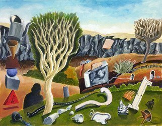 William B Hogan; Unusual Objects On A Landscape, 2018, Original Painting Acrylic, 33 x 25 inches. Artwork description: 241 Objects one does not always see in a landscape...