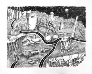 William B Hogan; When I Woke I Kept On Dreaming, 2018, Original Drawing Pen, 33 x 25 inches. Artwork description: 241 Mountains, roads, figures, trees...