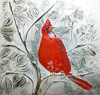 Catherine Anderson; cardinal, 2017, Original Bas Relief, 24 x 24 inches. Artwork description: 241 large cardinal in tree...