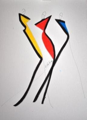 Rachelle Charlier; Tribute To Almodovar 1, 2010, Original Drawing Marker, 32 x 41 cm. Artwork description: 241   A series of drawings made with the help from black and coloured markers and I got inspired by the Spanish film producer Pedro Almodovar and his colours ...