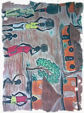 Caddy King; Once Upon A Time In Africa, 2012, Original Painting Other, 5.6 x  inches. Artwork description: 241   impressionism,culture,people, ethinicityconceptual,expressionism  ...