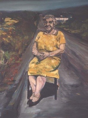 Paul Cairns; Jane Webb Sitting On The ..., 2006, Original Painting Oil, 60 x 72 inches. Artwork description: 241  Jane Webb was my great Aunt, and I owed her this painting. She decided to sit in the road one sunny Sunday in July 1967. ...