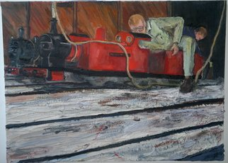 Paul Cairns; Samantha Getting Prepped ..., 2016, Original Painting Oil, 102 x 85 cm. Artwork description: 241  Two brothers prep their trains for bank holiday display. I like the fact that there are still places teenagers can access lathes and steam engines. ...