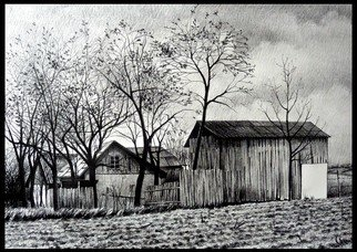 Calin Baban; The Barn, 2020, Original Drawing Graphite, 100 x 70 cm. Artwork description: 241 NATURE BEAUTY...