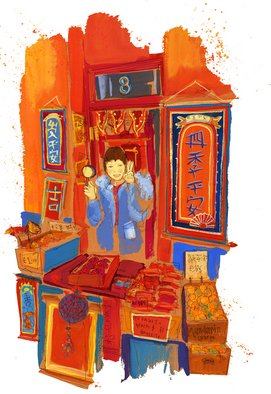 Cally Gibson; Chinese New Year Stallholder, 2008, Original Illustration, 25 x 42 cm.