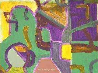 Mark Schwing; Green Path, 2013, Original Painting Acrylic, 12 x 9 inches. Artwork description: 241        Abstracted Surrealism in mainly green.              ...