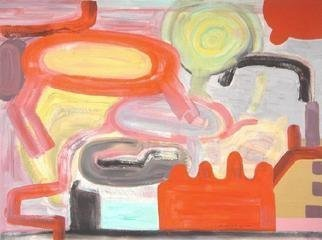Mark Schwing; The Dugout, 2013, Original Painting Acrylic, 24 x 18 inches. Artwork description: 241          Abstract Surrealism with red shapes.                ...