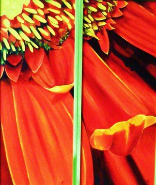 Jean Le Baron; Red Gerbera I, II, 2009, Original Painting Oil, 20 x 24 inches. Artwork description: 241  This is a diptych, each panel measures 10 inches wide by 24 inches long, and are framed separetely.  See green frame in photo. ...