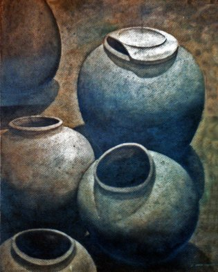 Christian Anthony Penafuerte; Clay Jars, 1993, Original Watercolor, 18 x 24 inches. Artwork description: 241  Still life, watercolor painting of a clay jar. ...