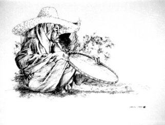 Christian Anthony Penafuerte; Rice Husker I, 1991, Original Drawing Pen, 11 x 8 inches. Artwork description: 241 Old lady husking rice, version I...