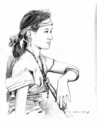 Christian Anthony Penafuerte; Sarah With Flute, 1991, Original Drawing Pencil, 8 x 11 inches. Artwork description: 241 Artist friend Sarah in tribal Igorot clothing and flute...