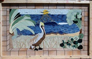 Joseph Caputo; Good Morning, 2008, Original Mosaic, 72 x 42 inches. Artwork description: 241  Ocean scene with palm trees , see oats, sea grapes and a pelican , not grouted or set, can be installed or hung on wall ...