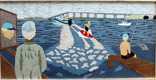 Joseph Caputo; Reflections, 2008, Original Mosaic, 45 x 24 inches. Artwork description: 241  An older gentleman looking out on the river and reflecting, not grouted , can be installed or hung on wall ...