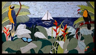 Joseph Caputo; There Goes The Hood, 2007, Original Mosaic, 45 x 25 inches. Artwork description: 241  Carribean paradise before the settlers came , not grouted or set, can be installed or hung on wall...