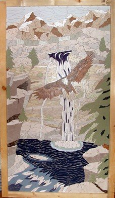 Joseph Caputo; Where Eagles Hang, 2008, Original Mosaic, 24 x 45 inches. Artwork description: 241  eagle soaring by a mountain waterfall, not grouted or set, can be installed or hung on wall ...