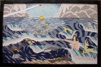 Joseph Caputo;  The Sixth Day, 2009, Original Mosaic, 44 x 28 inches. Artwork description: 241   Ocean scene with turtles dolphins and Neptune, with a rocket launch in the distance  ...