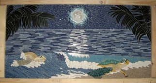 Joseph Caputo; Moonlight On The Sea, 2009, Original Mosaic, 32 x 16 inches. Artwork description: 241    monnlight over the ocean with turtles coming on shore ...
