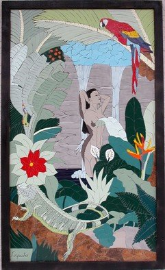 Joseph Caputo; Tropical Shower, 2007, Original Mosaic, 25 x 46 inches. Artwork description: 241   carribean woman in a waterfalls, not grouted or set, can be installed or hung on wall  ...
