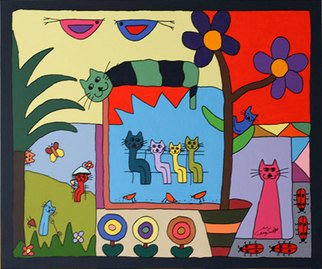 Carey Scott; Cats Escapade, 2010, Original Painting Acrylic, 90 x 70 cm. Artwork description: 241  Cats Escapade is a fun, bold painting making a statement of color and simplicity. Carey's highly orginal style brings an almost childlike innocence to her work. The picture tells a much deeper life story. Carey' s work can be inspiring and deeply moving.  ...
