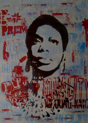Carlos Madriz; For Nina, 2018, Original Printmaking Other, 50 x 70 cm. Artwork description: 241 Representation of US singer, songwriter and activist in the civil rights Nina Simone.Limited edition produced using manual printing techniques, fixing stencils cut by hand using X- Acto blades to silkscreen printing frames. Tones and shades are superimposed on each other, in a radical departure from usual ...