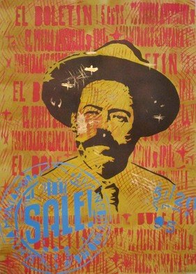 Carlos Madriz; Pancho Villa, 2017, Original Printmaking Other, 50 x 70 cm. Artwork description: 241 Portrait of Mexican revolutionary Doroteo Arango, A. K. A. Pancho Villa.Limited edition produced using manual printing techniques, fixing stencils cut by hand using X- Acto blades to silkscreen printing frames. Tones and shades are superimposed on each other, in a radical departure from usual silkscreen printing ...
