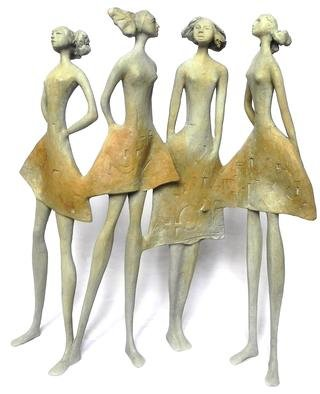 Carolina Rodriguez; Cuatro Amigas, 2013, Original Sculpture Bronze, 19 x 19 inches.