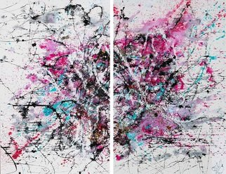 Carolina Vis; Pink Duo, 2018, Original Painting Acrylic, 200 x 160 cm. Artwork description: 241 Painting Acrylic, Ink and Glass on Canvas.160 H x 200 W x 2 cmPinkA creation with Glass, golden leafs, ink, acrylics and mediums.  Pink is an modern Large double painting based at the feeling of true love.  A conversation with friends did leave the question un- ...
