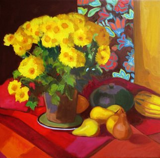 Carol Steinberg; Autumn Still Life, 2010, Original Painting Oil, 24 x 24 inches. Artwork description: 241   flowers floral yellow still autumn  ...