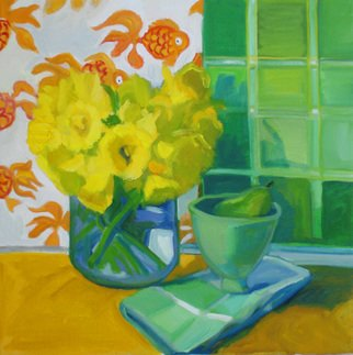 Carol Steinberg; Daffodils And Goldfish, 2010, Original Painting Oil, 18 x 18 inches. Artwork description: 241   flowers floral yellow still life daffodils goldfish  ...