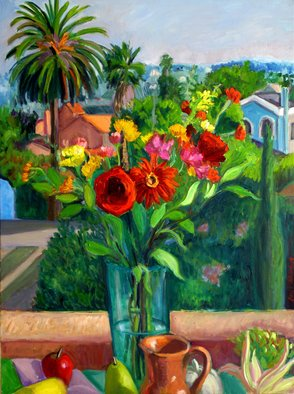 Carol Steinberg; Red Bouquet With Jug, 2005, Original Painting Oil, 30 x 40 inches. Artwork description: 241    flowers floral porch   ...