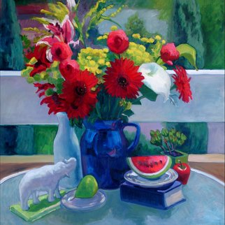 Carol Steinberg; Red Gerbers With Watermelon, 2005, Original Painting Oil, 36 x 36 inches. Artwork description: 241     flowers floral porch    ...