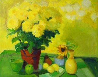Carol Steinberg; Yellow Mums On Yellow, 2010, Original Painting Oil, 30 x 24 inches. Artwork description: 241     flowers floral yellow still chrysanthemums mumsbright cheerful ...