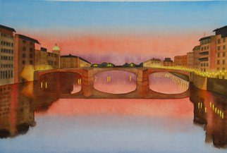 Carolyn Judge; Ponte Vecchio Bridge, Florence, 2010, Original Watercolor, 45 x 30 cm. Artwork description: 241   This photograph was taken by my husband on a trip we made to Italy.  Florence was our favorite city! ...