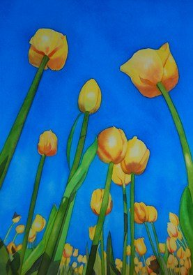 Carolyn Judge; Tulips, 2010, Original Watercolor, 32 x 46 cm. Artwork description: 241  This painting is from a photograph I took in Rotorua in New Zealand.  Each year the Tulips in Rotorua are fabulous. ...