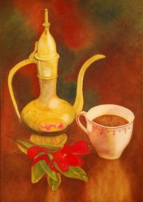 Carolyn Judge; Turkish Coffee, 2010, Original Watercolor, 21 x 31 cm. Artwork description: 241  A painting from a still life composition designed and photographed by my husband Stuart.   ...