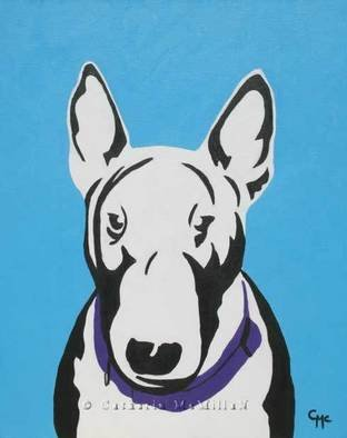 Catherin Mcmillan; Blue Boy, 2008, Original Painting Acrylic, 18 x 22 inches. Artwork description: 241  Blue Boy is portrait of a bull terrier.  Painted in a pop art style ...