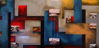 Christian Culver; Atlanta 2, 2011, Original Painting Oil, 30 x 60 inches. Artwork description: 241  Oil on wood panel with architectural images. ...