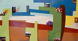 Christian Culver; Atlanta 4, 2007, Original Painting Oil, 60 x 30 inches. Artwork description: 241  Oil on wood panel with architectural images applied ...
