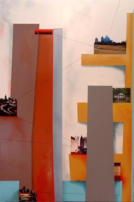 Christian Culver; Atlanta 5, 2011, Original Painting Oil, 28 x 40 inches. Artwork description: 241  Oil on wood panel with architectural images applied ...